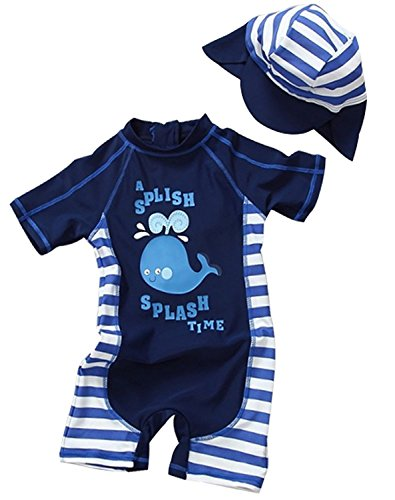 Toddler Baby Boy Summer Long Sleeve One Piece Rash Guard Swimsuit Sun Protection Dark Blue 9-12 Months, Tag 3