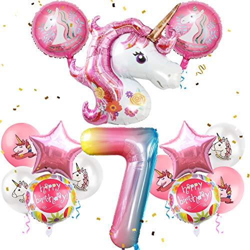 iZoeL Geburtstagsdeko Mädchen 7 Jahr Einhorn Luftballons Folienballon Happy Birthday Geburtstag Party Dekoration für Kinder