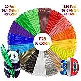 3D Stift Fliament Set, Lovebay PLA Filament 1.75mm, 16 Farben je 6,1M, insgesamt 97.6M, Kompatibel mit allen gängigen 3D Druckstift, z.B ODRVM,Uvistare,SUNLU,PLUSINNO, dikale,Tecboss,Aerb,Victorstar