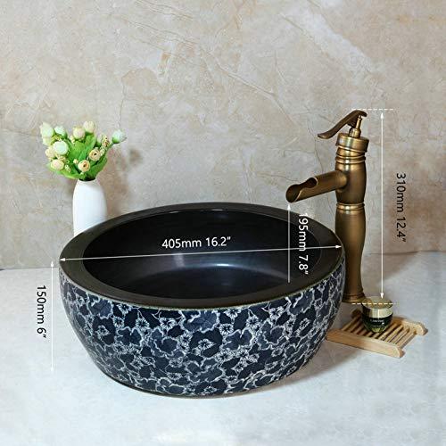 WEILINW Waschbecken Wasserhahn Set Badezimmer Keramik RundwaschbeckenAntik Messing Deck montiert Wasserhahn Wasserhahn Wasserhahn