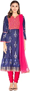 Haute Curry By Shoppers Stop Womens Round Neck Printed Kurta and Dupatta Set