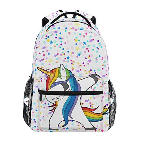 Tanzendes Einhorn mit Stern Schulrucksack für Jungen Mädchen Kinder Reisetasche Bookbag