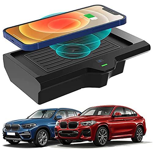 Braveking1 para BMW X3 2018 2019 2020 2021 / BMW X4 2019 2020 2021 Cargador Inalámbrico Coche Panel de Accesorios de la Consola Central, 10W Qi Carga Rápida Teléfono Cargador para iPhone Samsung