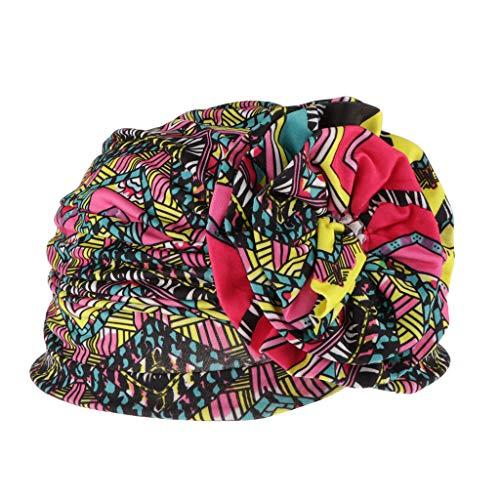dailymall Gorro Mujer de Algodón para Quimio y Oncológicos Gorro de Dormir Sombrero Turbante Musulmán Africano Floral - Rosy + Green