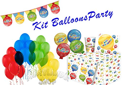 Kit de fiesta, incluye adornos y decoraciones de mesa para cumpleaños, fiestas temáticas y ceremonias (Balloons Party)