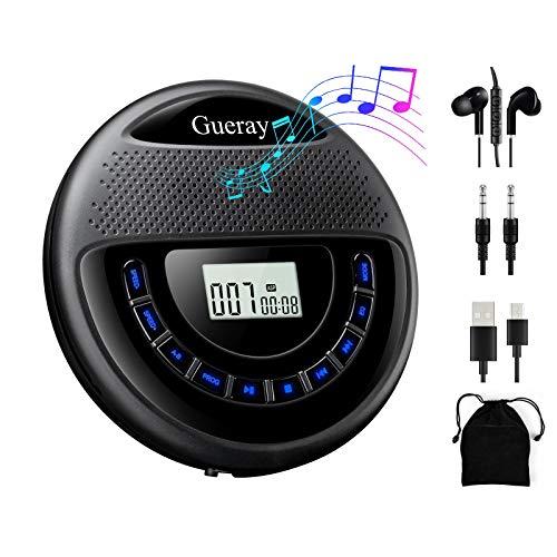 Gueray Lecteur CD Portable avec Haut-parleurs et Batterie Lithium Intégré de 1400 mAh et Casque Lecteurs de CD sans Fil Walkman Soutenir la Lecture de la Carte TF