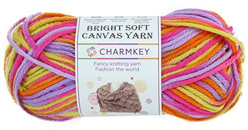 charmkey lona suave y brillante hilo 4tamaño mediano autoadhesivo Striping Lustroso 100% acrílico hilo de 4capas bebé lana para tejer (para jersey ropa bufanda calcetines, 1Skein, 3.53onza