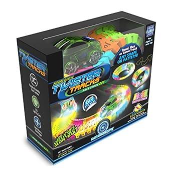 Mindscope Twister Tracks Neon Glow in The Dark 221 Piece  11 feet  of Flexible Assembly Track Race Series