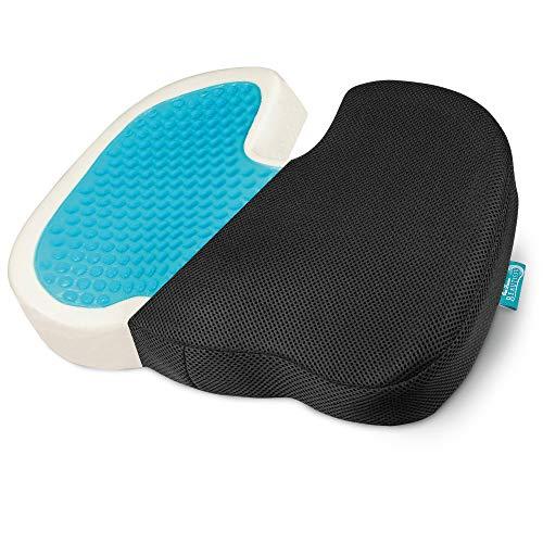 Beautissu Sitzkissen 45x35x7cm – BeauErgo GS – U-Form Ergonomisches Memory Foam Gel Sitzkissen für Auto & Bürostuhl – Druckentlastende Sitzerhöhung für mehr Sitzkomfort