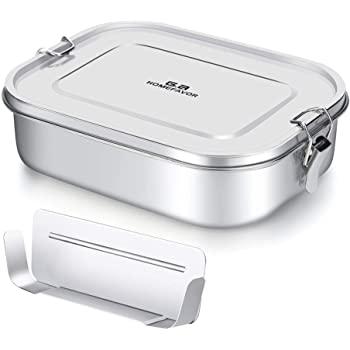 G.a HOMEFAVOR 1400ml Stainless Steel Lunch Box, Leak Proof Metal Bento Box with Removable Comprtment Divider, Food Snacks Container for Kids and Adults