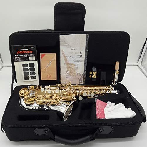 Saxofón soprano curvo Music Fancier Club SC-9937 de latón plateado, parches profesionales para boquilla, lengüetas y cuello curvado