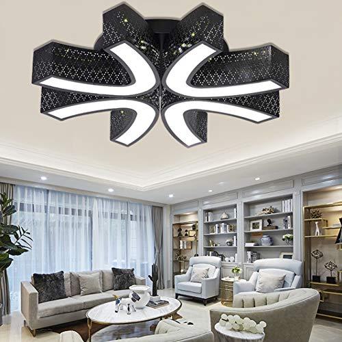 DIWIWON 54W Blanco frío 6000K-6500K Única e innovadora luz de techo LED Comedor blanco moderno Lámpara de techo de estudio Lámpara de bajo consumo-4U-forma-negro