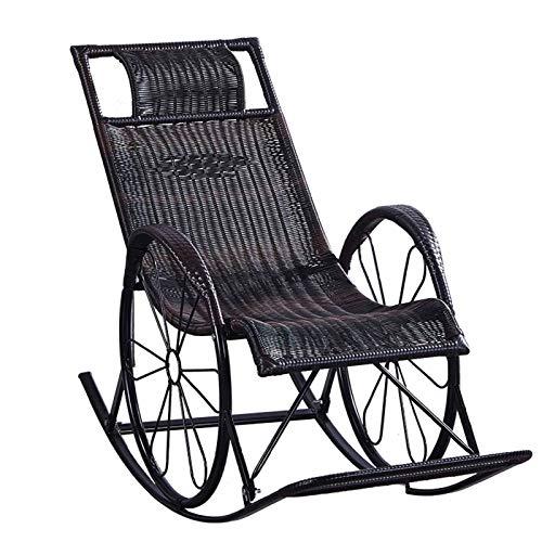 XLSQW Entspannung Schaukelstuhl Lounge Chair, Chaise Sunbathing Stuhl Komfortable Entspannung Schaukelstuhl Pe Rattan Metallrahmen, für Innenbereich im Freien
