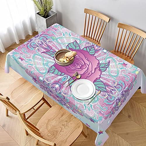 Tovaglia,Fiore psichedelico ispirato tondo rosa anni '80 anni '90 retrò vintage vibrante, Tovaglie Rettangolari lavabile Riusabile Casa Cucina Cena Picnic Tovaglia Decorazione da Tavolo 137 x 183cm