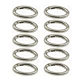 WEICHUAN 10PCS Spring Clip Round Carabiner- 1-1/4' Gate O Ring Round Carabiner Snap Clip Trigger Spring Keyring Buckle Organizing Accessory/Metal Secure Holder/Durable and Rust-Proof (Silver)