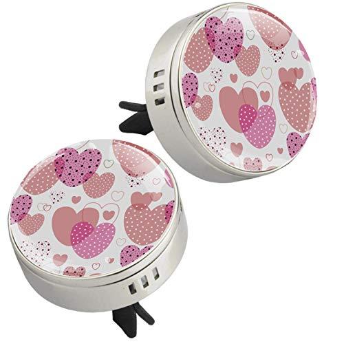 MUOOUM Ambientador de coche con diseño de corazón rosa con clip de ventilación para coche, aroma de corazón, difusor de perfume (plateado)