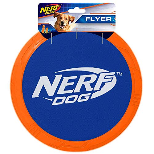 Nerf Dog 10in TPR/Nylon Flying Disc  Blue/Orange