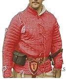 The Medieval Shop Gambeson Abrigo Acolchado Grueso Aketon Chamarra Armadura, Tela de algodón Rojo Vestido SCA, Color Rojo, tamaño Small