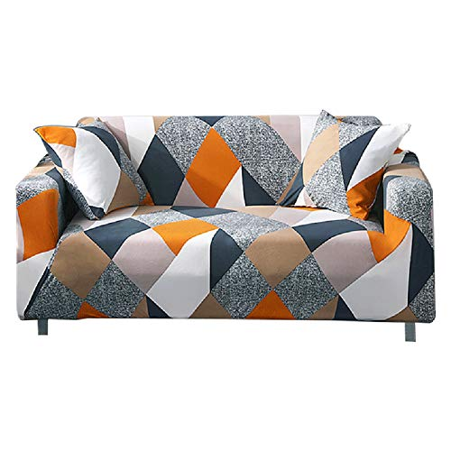 HEYOMART Sofa Cover High Stretch Elastic Fabric 1 2 3 Seater Sofa Slipcover Chair Loveseat Couch Cover Polyester Spandex Furniture Protector Cover with 1 Pillowcase (2 Seater, Checkerboard)