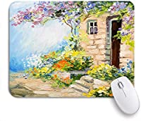 ECOMAOMI 可愛いマウスパッド ヨーロッパの風景画夏の庭のカラフルな花 滑り止めゴムバッキングマウスパッドノートブックコンピュータマウスマット