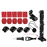 Helmet Side Mount Set + J-Hook Quick Release Buckle Clip 3M Adhesive Pads for GoPro Hero Action Cam