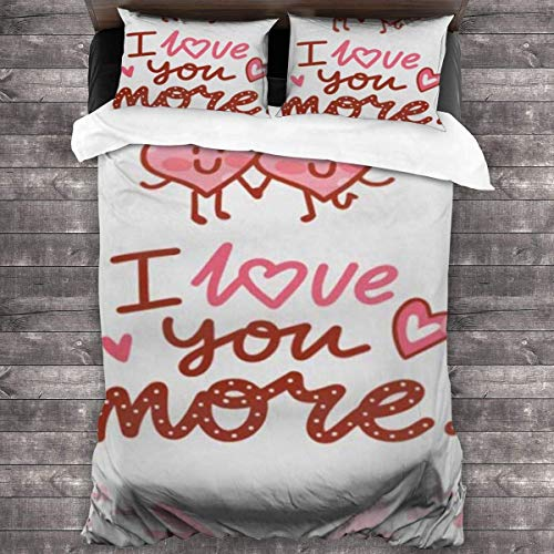 Simple and Stylish, Comfortable 3-Piece Bedding Set 86'' x70 Orange Character Love Lettering Text Doodles On Romantic Hearts I You More Cute in Cartoon Pink
