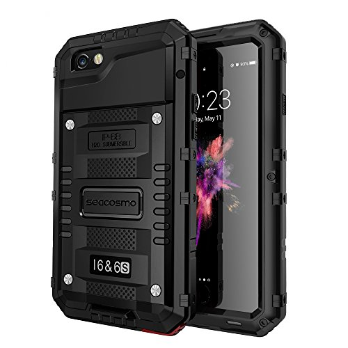 seacosmo Cover iPhone 6, [Waterproof] Custodia Impermeabile Corpo Completo con Protezione Incorporata Dello Schermo per Apple iPhone 6S, Nero
