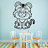 Cute Tiger Wall Sticker Accesorios para la decoración del hogar Tatuajes de pared impermeables Blanco XL 57cm X 71cm