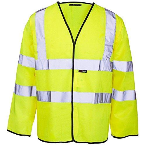 Unisex Hi Viz Visibilty Vest met lange mouwen Maat klein tot 4XL Large Geel