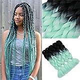 YMHPRIDE Cabello trenzado Ombre de 5 piezas Negro a verde claro Extensiones de cabello Kanekalon Jumbo trenzado 24 pulgadas