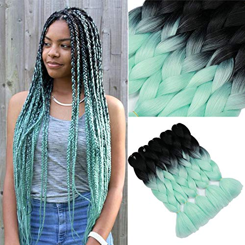 YMHPRIDE Ombre Kanekalon Geflochtene Haare 24 Zoll(61 cm) 5Stk. 100g 2-farbige synthetische geflochtene Haare