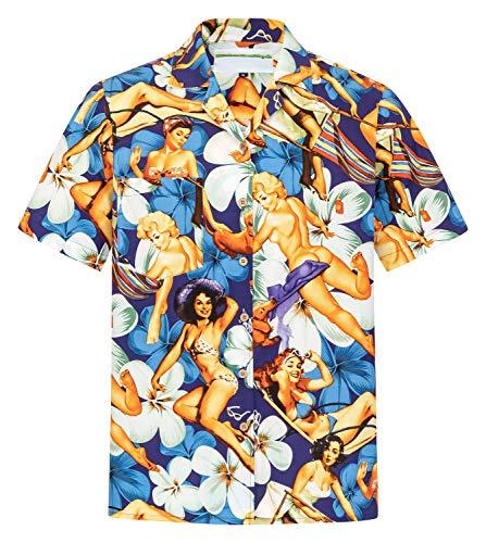 Hawaiihemdshop Hawaïhemd | Mannen | Katoen | Maat S - 8XL | Korte mouwen | Hawaïhemden | Aloha | Girls | Vrouwen | Pin-Ups | Palmen | Sea | Aloha | kokosnoot knopen | Hawaii hemd