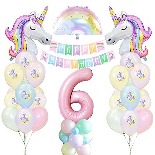 Unicornio Decoración de Cumpleaños 6 años, Globo de Unicornio Macaroncon Pancarta de Cumpleaños Numero 6 Cumpleaños Globos Latex Globos para Decoracion de Fiesta de Cumpleaños Niña Reutilizar