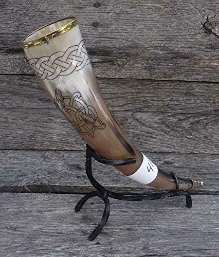 KEW HANDICRAFTS Viking Drinking Horn - Triple Headed Celtic Dragon 417