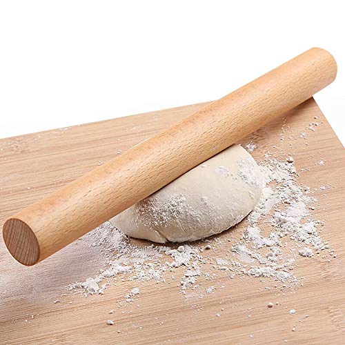 Wooden Rolling Pin for Baking Pizza making, Professional Dough Roller Rolling Pins Wood, 15-3/4-Inch by 1-1/4 Inch, Beech Wood for Baking Pizza, Clay, pasta, Cookies, Roller Pins Baking (Rolling Pin)