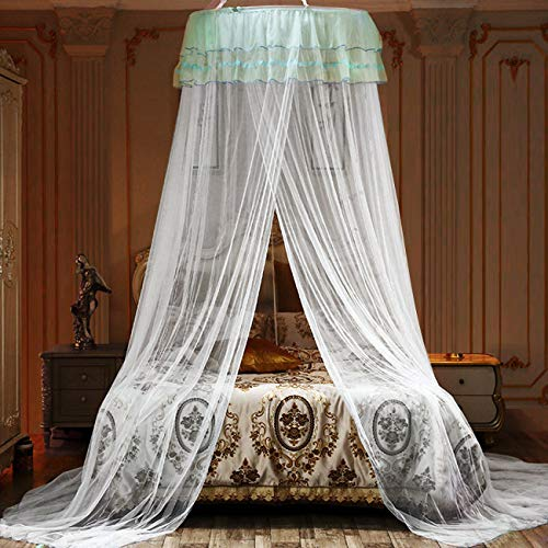 Jolitac Bed Canopy Lace Mosquito Net for Girls Beds, Unique Princess Play Tent Mesh Canopies Large Lace Dome Curtain Drapes Home & Travel (Wihte)