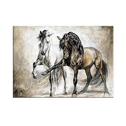 MITENG Pintura Al Óleo Lienzo Animal Caballo Vintage, XXXXXL Van Gogh Vistoso Pintura Al Óleo Impresión De La Lona Mural Decoración Hogareña Sin Marco