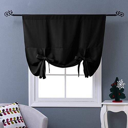 NICETOWN Blackout Curtain for Bathroom Windows - Adjustable Tie Up Shade Balloon Valance Blind (Rod Pocket Panel, 46 inches W x 63 inches L)