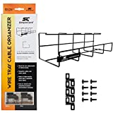 Simple Cord Wire Tray Desk Cable Organizer - 32' Open Slot Raceway to Hold Cables, Cords, or Wires on Desks - Office Cable Management (Pack of 2) (5582703058)
