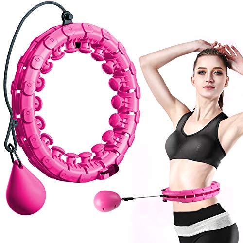 FeelGlad Huula Hoop, Einstellbar Fitnessreifen mit Massagenoppe, Nicht fällt und 24 Abnehmbare Abschnitte für Kinder Anfängermit Gymnastikreifen Gewichtsverlust Fitness-Training und Massage(Pink)