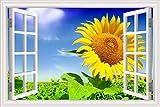 Natura Giallo Girasole piante cielo blu nuvole scenario Paesaggio Adesivo murale moderno Carta da parati in PVC decalcomania 3D Finestra Visualizza arte murale poster Camera da letto Decor