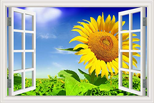 Nature Yellow Sunflower Plants Blue Sky Clouds Scenery Landscape Modern Wall Sticker PVC Wallpaper Decal 3D Window View Art Mural Poster Bedroom Decor