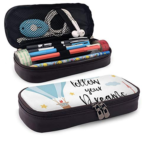 Pencil Case Big Capacity Storage Holder Desk Pen Pencil Marker Stationery Organizer Pencil Pouch with Zipper,Inspirational Phrase With Hot Air Balloon Stars And Clouds Romantic Cartoon Design
