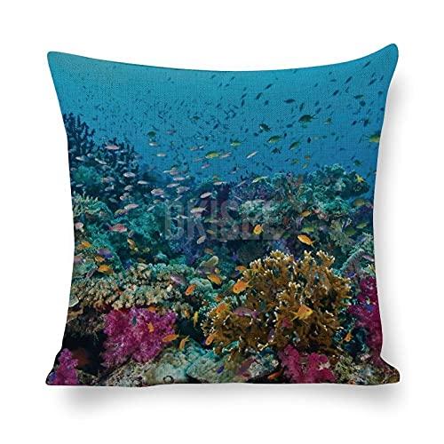 DKISEE - Federa decorativa per cuscino, in cotone, lino, fantasia scogliera, per soggiorno, divano letto, 45,7 x 45,7 cm