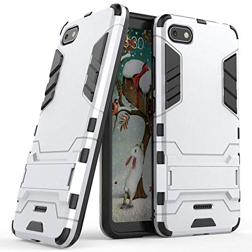MaiJin Hülle für Xiaomi Redmi 6A (5,45 Zoll) 2 in 1 Hybrid Dual Layer Shell Armor Schutzhülle mit Standfunktion Hülle (Silber)
