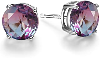 Angol Sterling Silver Tourmaline Stud Earrings, 925 Stud Earrings Hypoallergenic Colorful Multicolor 8mm Round Solitaire S...