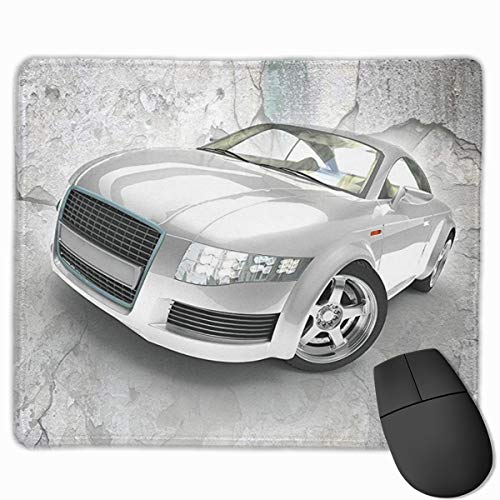 Jujupasg-Mauspad, Rutschfestes, Wasserdichtes Mousepad Auf Gummibasis Für Laptops - Ehrfürchtiges silbernes Auto Audi TT