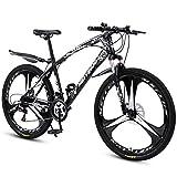 GASLIKE Bicicleta de montaña Bicicleta para Adultos, Cuadro de Acero de Alto Carbono, Bicicletas de montaña rígidas Todo Terreno,Negro,26 Inch 24 Speed