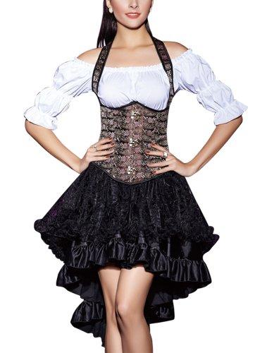r-dessous Corsgenkleid kurz Unterbrust Corsage + Rock Mini Abendkleid Cocktailkleid Dirndl Party Kleid Top Groesse: L
