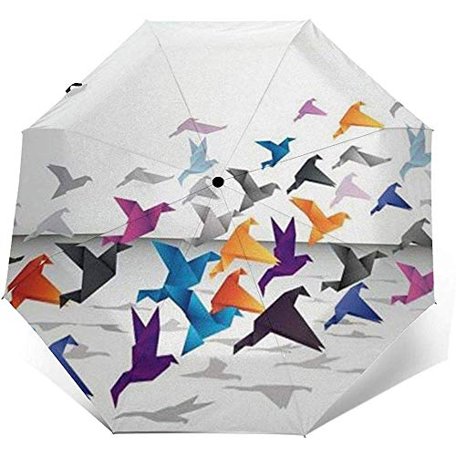 Bunter Origami Folding Compact Regenschirm wasserdicht-Sun Block-Auto Open&Close (schwarzer Kleber)